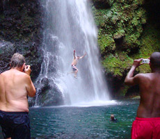 Dazzle your amigos by levitating in mid-air at Baleine Falls.